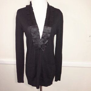 TORY BURCH Merino + Silk Black Long Cardigan Sz S
